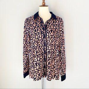 Karl Lagerfeld Pink Leopard Print Button Down